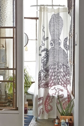 Urban Outfitters Nate Duval Giant Octopus Shower Curtain Cream
