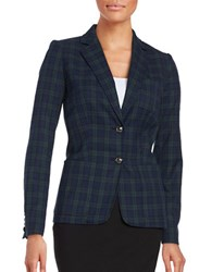 Tommy Hilfiger Two Button Plaid Jacket Navy Frost