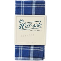 The Hill Side Indigo Madras Large Check Pocket Square Blue