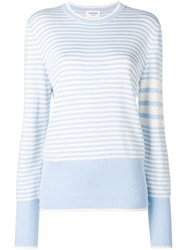 Thom Browne 4 Bar Bicolor Stripe Silk Pullover Blue