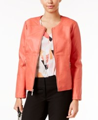 Alfani Faux Leather Quilted Trim Jacket Only At Macy's Coral