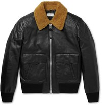 Coach Shearling Trimmed Leather Bomber Jacket Black