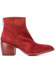 Rocco P. Pointed Ankle Boots Leather Suede 37.5 Red