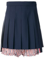 Thom Browne Lace Trim Bloomer Miniskirt Blue