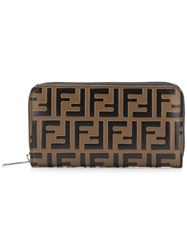 Fendi Ff Logo Wallet Brown