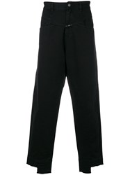 Closed Cut Hem Trousers Black