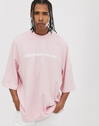 Noak Relaxed T Shirt With Half Sleeve And Branded Logo Pink