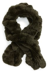 Toria Rose Women's Genuine Rabbit Fur Scarf Green