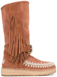 Mou 'Mueskitallsue' Boots Women Cotton Raffia Suede Rubber 37 Brown