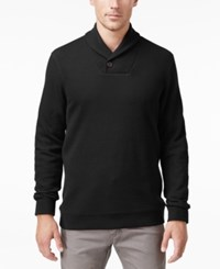 Tasso Elba Men's Big And Tall Honeycomb Textured Shawl Collar Pullover Only At Macy's Deep Black