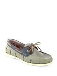 Swims Perforated Boat Lace Up Loafers Khaki
