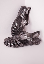 Missguided Flat Jelly Shoes Black Glitter Black