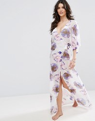 Asos Wrap Front Maxi Beach Dress In Spaced Floral Print Floral Print Multi