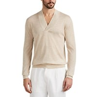 Isaia Cashmere Wide V Neck Long Sleeve Shirt Cream