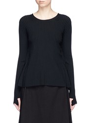 Helmut Lang Technical Rib Knit Tie Open Back Sweater Black
