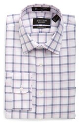 Nordstrom Men's Big And Tall Men's Shop Smartcare Tm Traditional Fit Plaid Dress Shirt Pink Lavender
