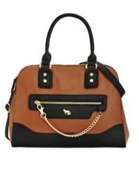 Emma Fox Caitlin Double Zip Satchel Cognac Black