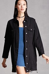 Forever 21 Distressed Denim Dolman Jacket Black