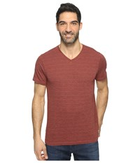 Agave Hal Short Sleeve V Neck Tri Blend Jersey Stripe Block Tandoori Spice Men's Clothing White