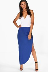 Boohoo Ruched Side Jersey Maxi Skirt Blue