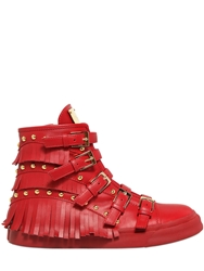 Giuseppe Zanotti 30Mm Fringed Leather High Top Sneakers Red