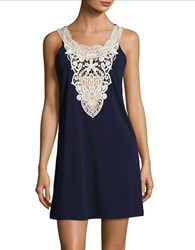 J Valdi Crochet Accented Cover Up Dress Navy Ivory