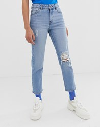 Dr. Denim Dr Edie Cropped Mom Jean With Rip Detail Blue