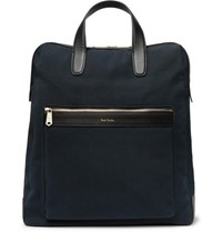 Paul Smith Leather Trimmed Canvas Tote Bag Navy