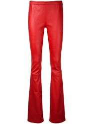 Balmain Pierre Bootcut Leather Trousers Red