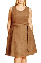 City Chic Plus Size Women's Faux Suede Fit And Flare Dress Dark Caramel