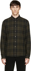 Blk Dnm Green Check Flannel Shirt