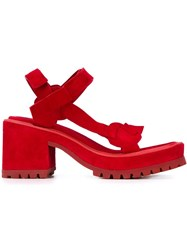 Marques Almeida Chunky Mid Heel Sandals Red