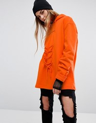 Criminal Damage Oversized Hoodie With Lace Up Orange Orange