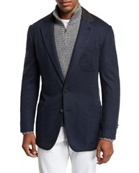 Stefano Ricci Two Button Cashmere Sportcoat With Suede Collar And Button Detail Blue Green