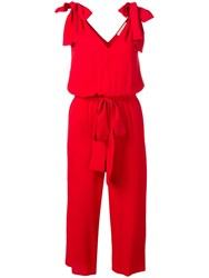 Michael Michael Kors Belted Jumpsuit Red