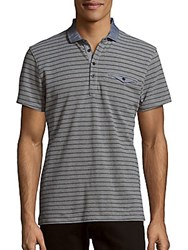 Saks Fifth Avenue Red Trim Fit Polo Shirt Grey Black