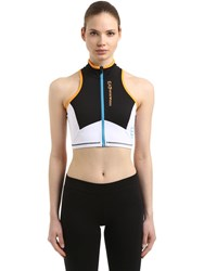 Emporio Armani Vigor7 Logo Print Zip Up Sports Bra Black