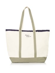 Maison Kitsune Logo Embroidered Canvas Tote Cream
