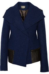 Line Filmore Leather Trimmed Boiled Wool Coat Blue