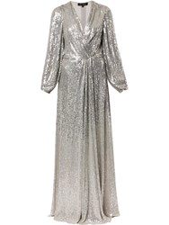 Jenny Packham Sequin Wrap Gown Silver