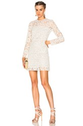 Valentino Heavy Lace Long Sleeve Mini Dress In White