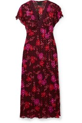 Anna Sui Scattered Flowers Lace Trimmed Silk Blend Jacquard Midi Dress Burgundy