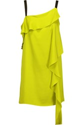 Milly Maya Draped Silk Blend Satin Mini Dress Chartreuse