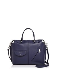 Marc Jacobs The Edge Bauletto Leather Satchel Midnight Blue Silver