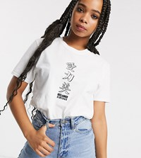 Reclaimed Vintage Inspired T Shirt With Japanese Logo Print White