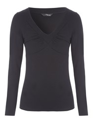 Jane Norman Ruched Bust Long Sleeve Jersey Black