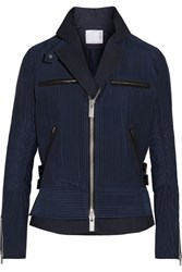 Sacai Hickory Twill Trimmed Striped Cotton Canvas Peplum Jacket Navy