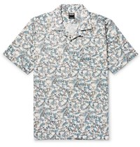 Todd Snyder Liberty Camp Collar Printed Cotton Poplin Shirt Blue