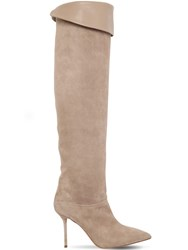 Aquazzura 95Mm Lancaster Suede And Leather Boots Beige
