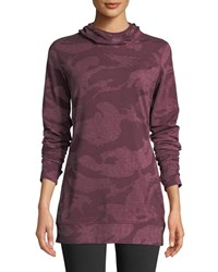 The North Face Baselayer Camo Print Hooded Activewear Top Purple Pattern